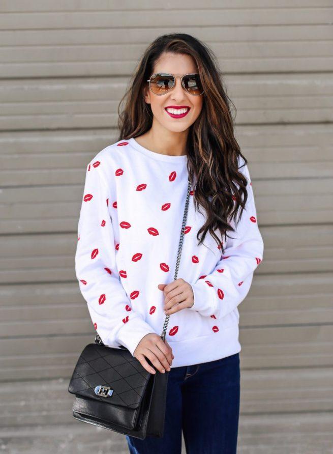 Lipstick Print Sweatshirt