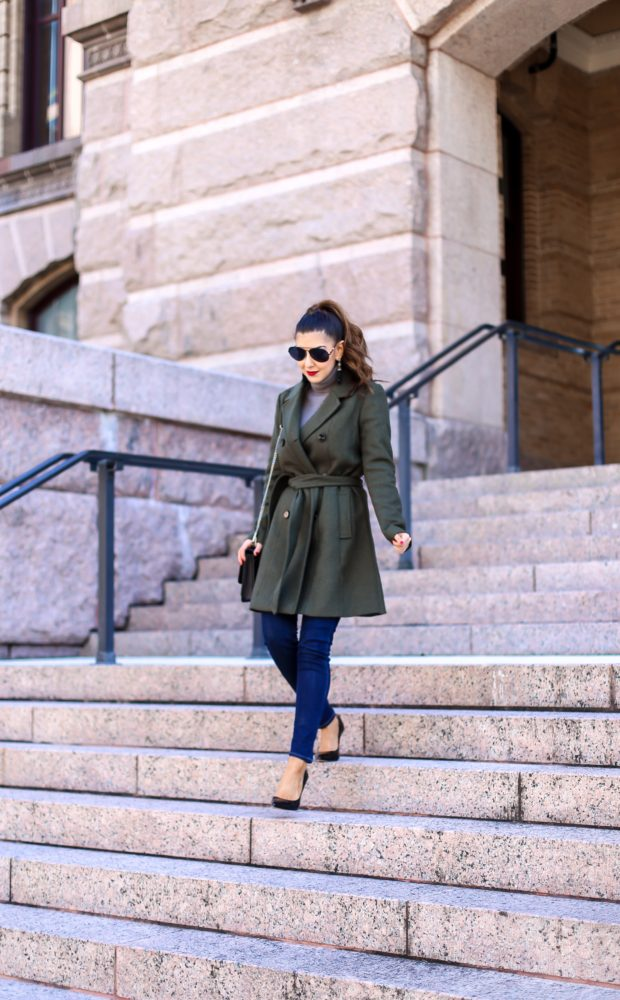 Olive Belted Trench Coat Outfit for Winter