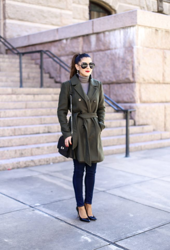 Olive Belted Trench Coat Winter Style