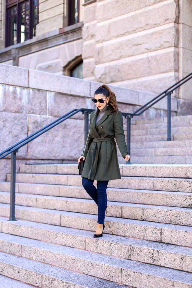 Olive Belted Trench Coat for Winter