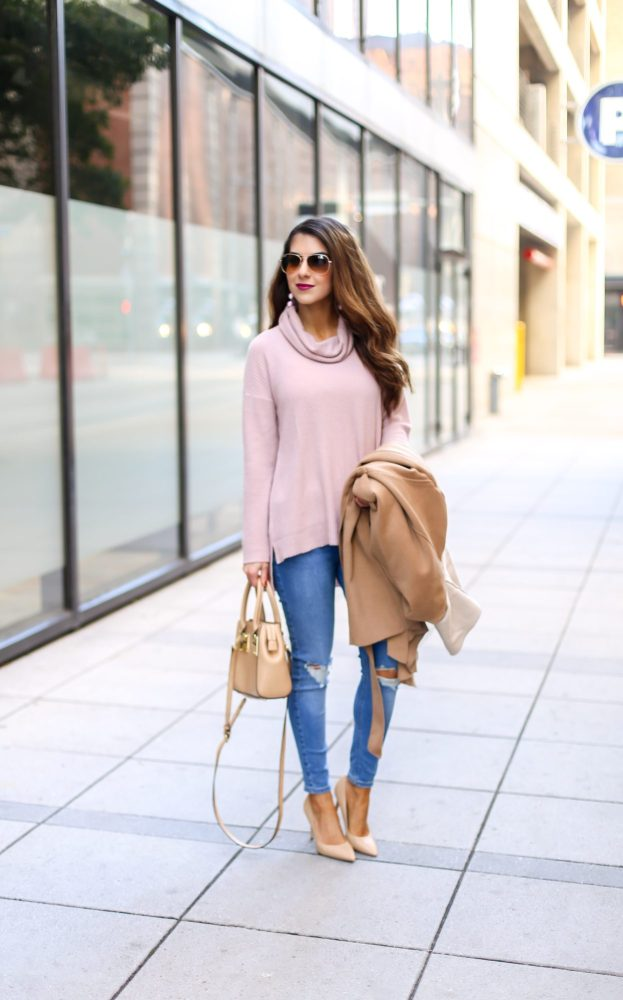 Pink Tunic Sweater and Camel Wrap Coat