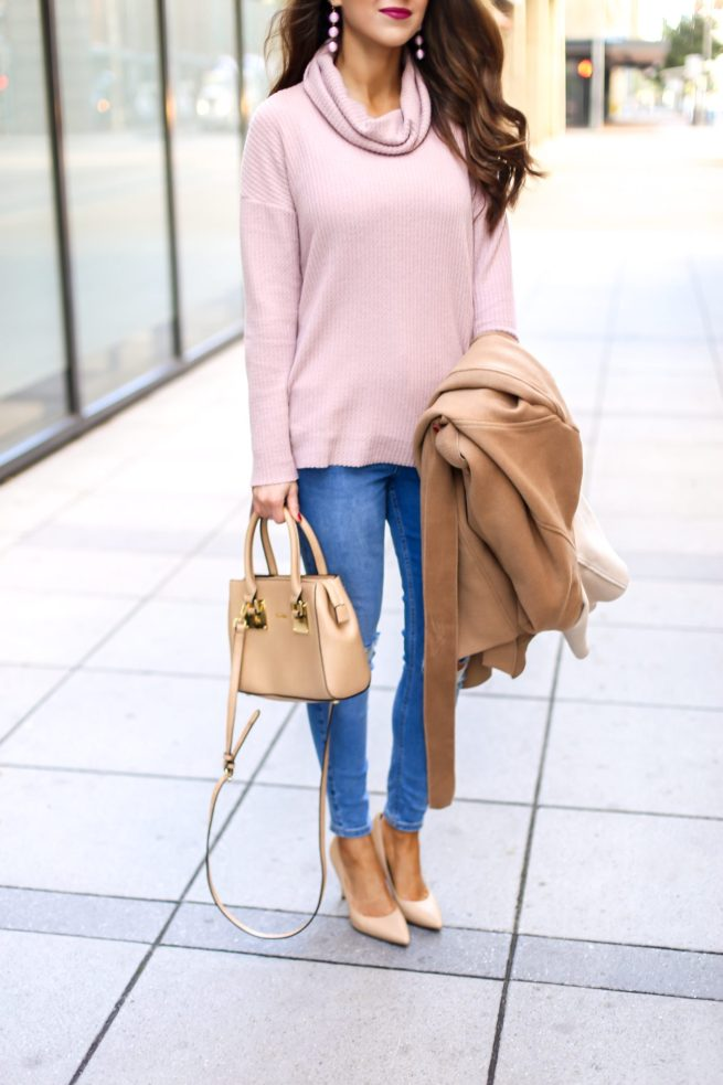 Pink Tunic Sweater and Denim Style