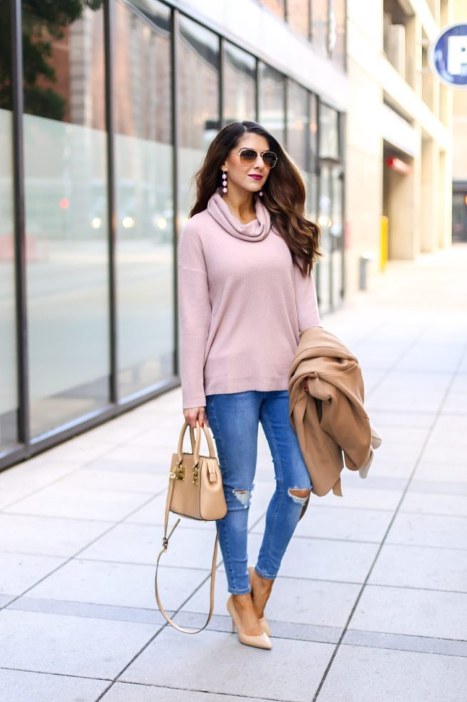 Pink and Camel Denim Style Outfit