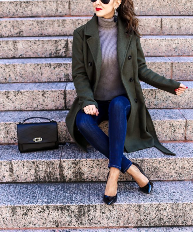 Winter Olive Belted Trench Coat