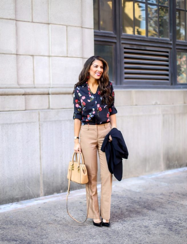 Classic Floral Blouse for Work and Camel Dress Pants