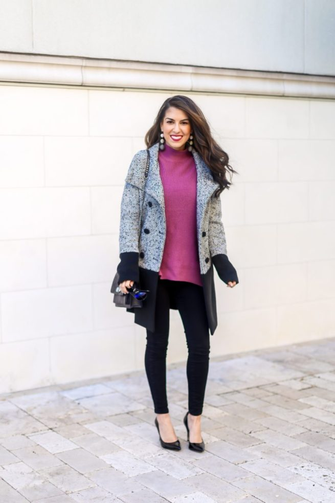 Colorblock Peacoat and Sweater Denim Style
