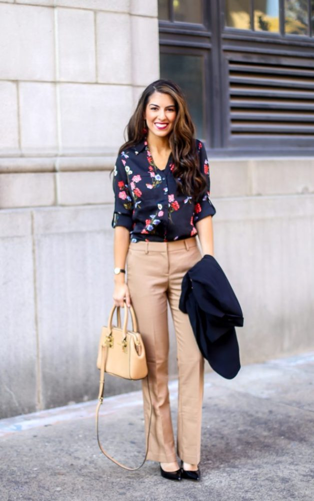 Floral Blouse for Work and Work Wear Outfit