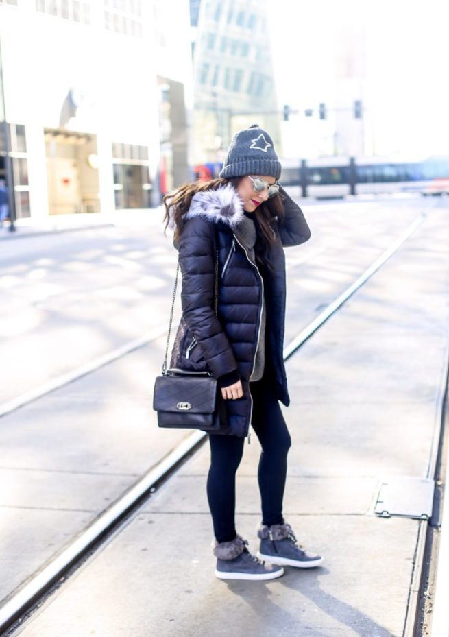 Puffer Coat and Leggings Style