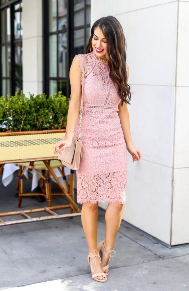 Beautiful Pink Lace Sheath Dress