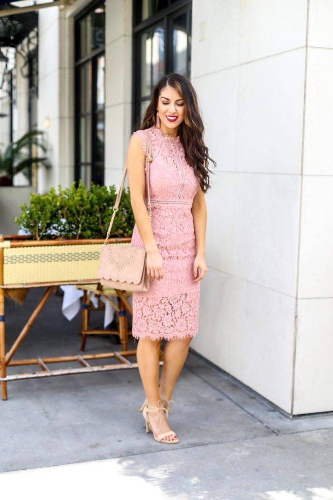 Pink Lace Sheath Dress for the Season