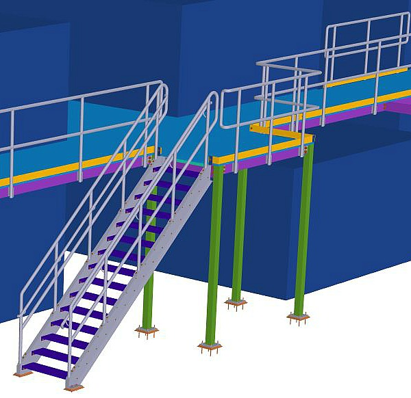 Steel Stair Design. Grating Stair And Platform