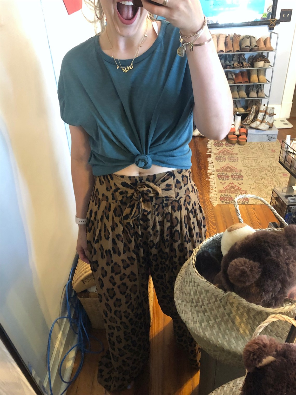 Free People leopard print pants