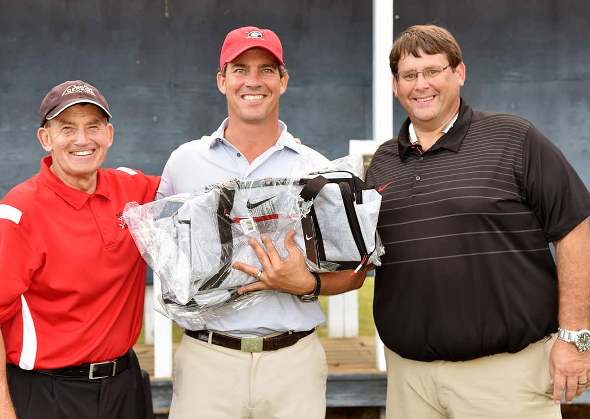 The Hooks Agency Team, the 2015 champions, which included Rhett Simmons, William Rambo, and Brian Simmons took second place in the Jets Booster Club Sparky Reeves Classic Golf Tournament.  Show above (l to r) are SGTC President Emeritus Sparky Reeves, Brian Simmons, and SGTC Athletic Director James Frey.