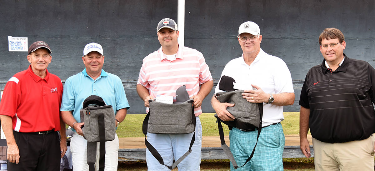 Shown above is the SB&T team which finished third.  SGTC President Emeritus Sparky Reeves is shown with Buddy Guth, Jason Evans, Sam Hunter, Jr., and SGTC Athletic Director James Frey.