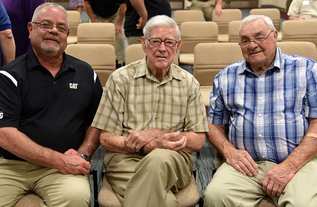Rick Davis is shown with his Diesel Instructor Jack Busby and his dad, Jerry Davis of Buena Vista.  Jack Busby was the SGTC Diesel Instructor that taught Rick Davis in 1978.