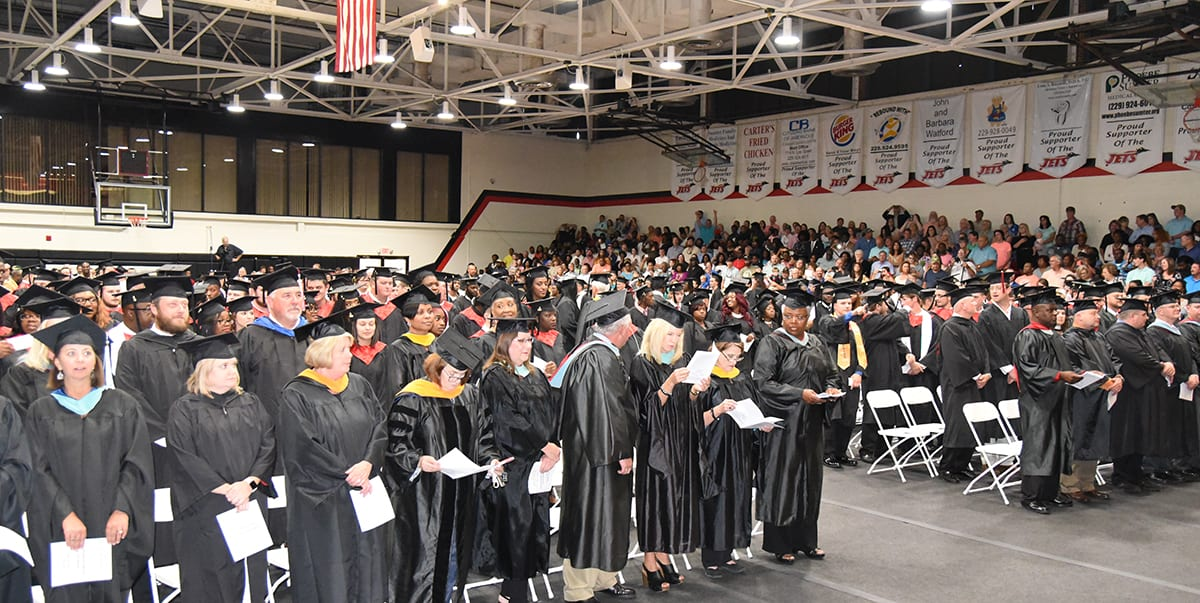 A large crowd attended the SGTC Spring 2018 graduation ceremony recently in the James S. Peters gymnasium.