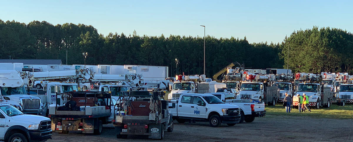 Line worker trucks were parked throughout the campus at night and during shift changes.