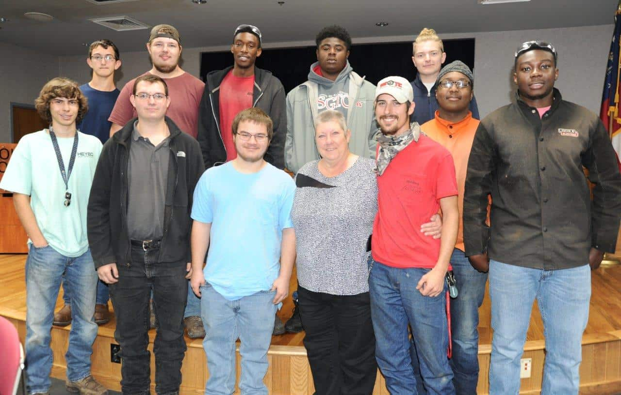 Brenda Butler Gilliam is shown above with some of her welding students from the SGTC Crisp County Center.