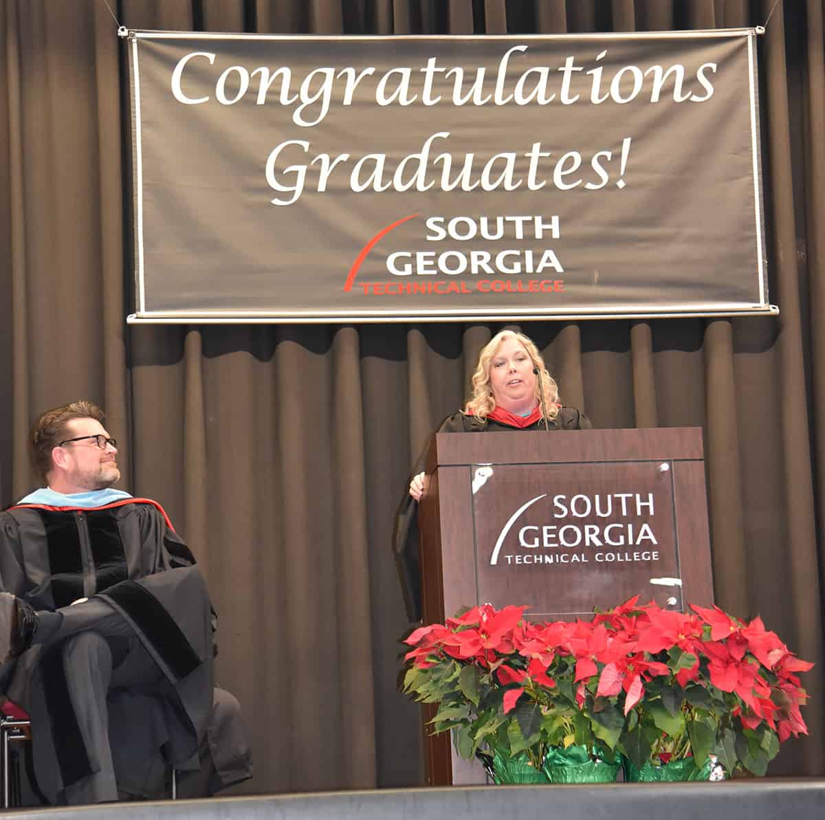 South Georgia Technical College Criminal Justice Instructor and 2018 Instructor of the Year, Teresa McCook, is shown above delivering the key note address at the SGTC Fall 2018 Graduation ceremony.