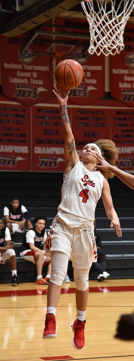 Alyssa Nieves, 4, scored 18 points against Albany Tech in the Lady Jets 100 – 50 win.