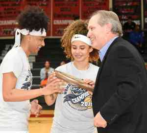 Sophomores Ricka Jackson and Alyssa Nieves accepted the NJCAA Region XVII championship plaque for the Lady Jets from GCAA Commissioner David Elder.