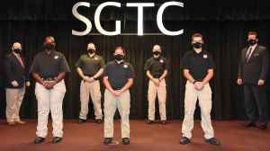 Photo: South Georgia Technical College President Dr. John Watford (back left) and LEA Academy Director Brett Murray (back right) are shown above with the members of the South Georgia Technical College Law Enforcement Academy Class 20-01 cadets who competed their training recently that was interrupted due to the COVID-19 pandemic. These five cadets earned their POST certification and a technical certificate of credit for their course work in the academy. Shown above on the front row are: Angela E. Sims of Plains; Yamilette Martinez-Rodriguez of Oglethorpe, and Grayson H. Watson of Sycamore, GA. On the back row with Dr. Watford and Brett Murray are William D. McClanahan and Edwin D. Harvey, III.