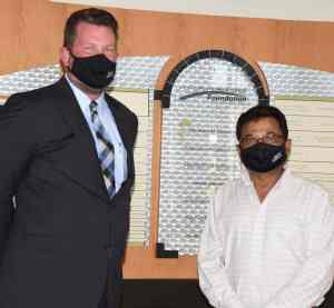 South Georgia Technical College President Dr. John Watford (l) is shown above thanking Sharad Patel for his contributions to the South Georgia Technical College Foundation.
