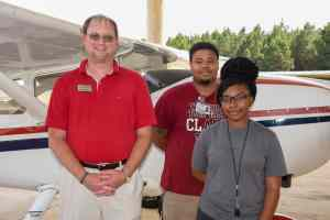 SGTC Aircraft Structural Technology program instructor Jason Wisham (l-r) and his former students Darryl Rumph, Junior and Riana Davis. Rumph and Davis both went to work for Thrush Aircraft graduating from SGTC.