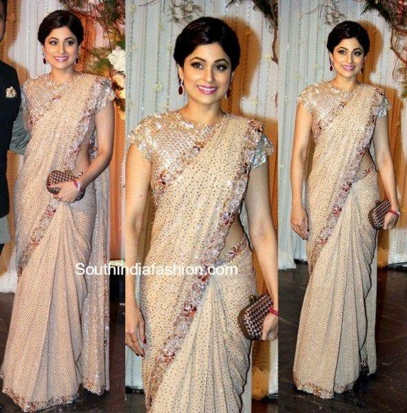 Shamita Shetty In Manish Malhotra Saree At Bipashas