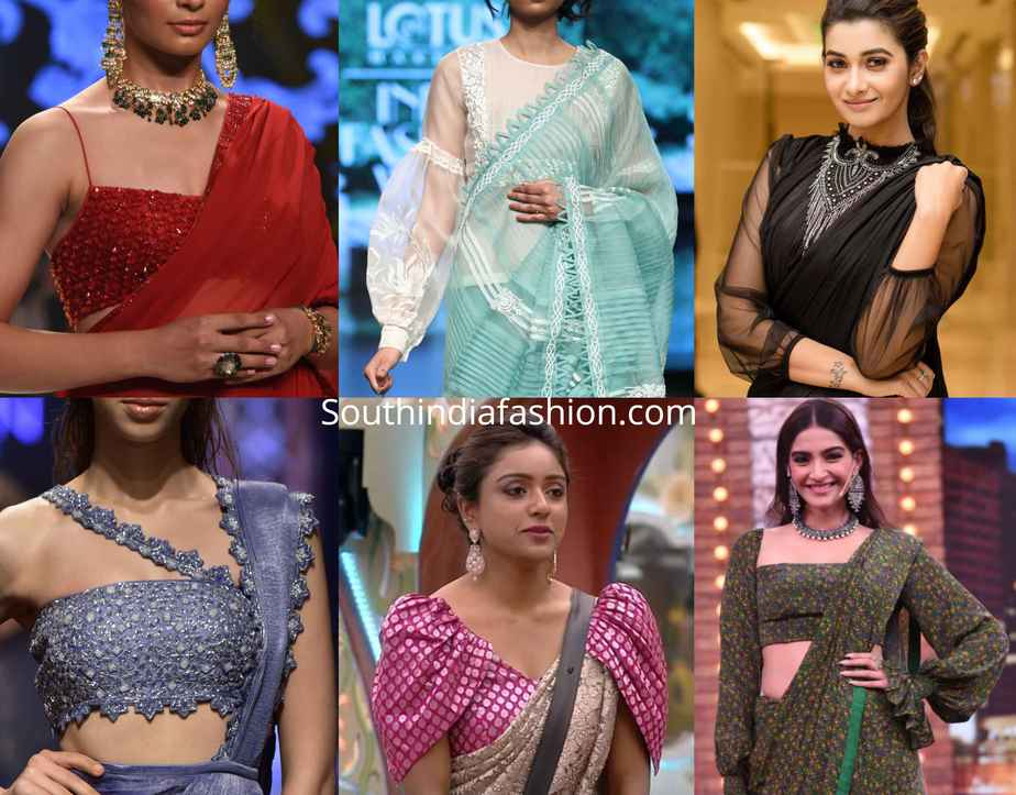 15 Stylish Party Wear Saree Blouse Designs South India Fashion