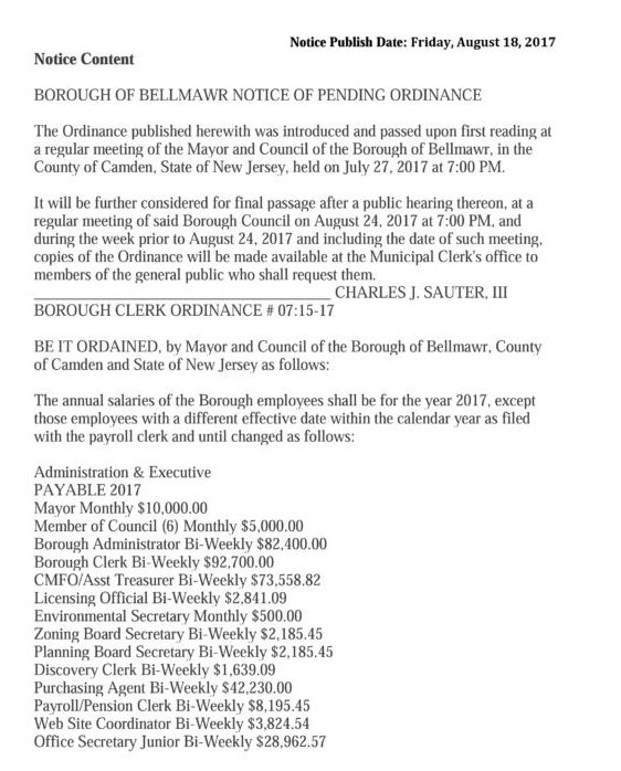 2017 Bellmawr Salary Ordinance