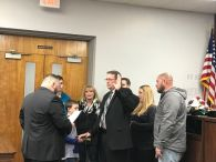 Jim D 'Angelo was sworn in by Barrington Councilman Shawn Ludwig.
