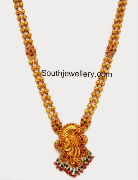 2 In 1 Peacock Gold Haram Baby Vaddanam Jewellery Designs