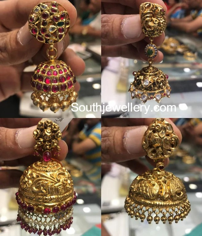 Antique Gold Jhumkas Jewellery Designs