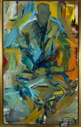 Elaine de Kooning, Bill at St. Mark's, 1956. Oil paint on canvas. 72 x 44 in. Collection of Craig A. Ponzio. Photograph by William J. O'Connor. Copyright Estate of Elaine de Kooning.
