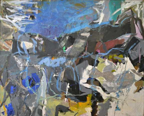 Perle Fine, Summer 1, 1958-59. Oil paint and collage on canvas. 57 x 70 in. Collection of Craig A. Ponzio. Image courtesy McCormick Gallery, Chicago. Copyright A.E. Artworks, LLC.