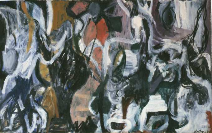 Grace Hartigan, The Massacre, 1952. Oil paint on canvas. 80 x 127 3/4 in. Collection of the Kemper Museum of Contemporary Art, Kansas City, Missouri. Bebe and Crosby Kemper Collection. Gift of the Enid and Crosby Kemper Foundation, 1995.38. Copyright Estate of Grace Hartigan.