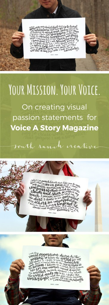 Your Mission. Your Voice. Take a peek inside my process for creating, lettering, and designing these passion posters for Voice A Story Magazine.