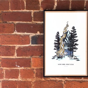 Wash Your Spirit Clean John Muir 6 Color Screen Printed Poster with Mountains Trees and Campfire Design