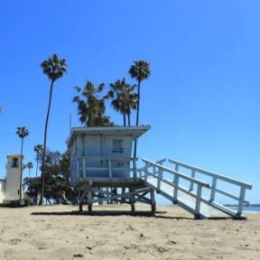 Cabrillo beach lifeguard tower and bathhouse.