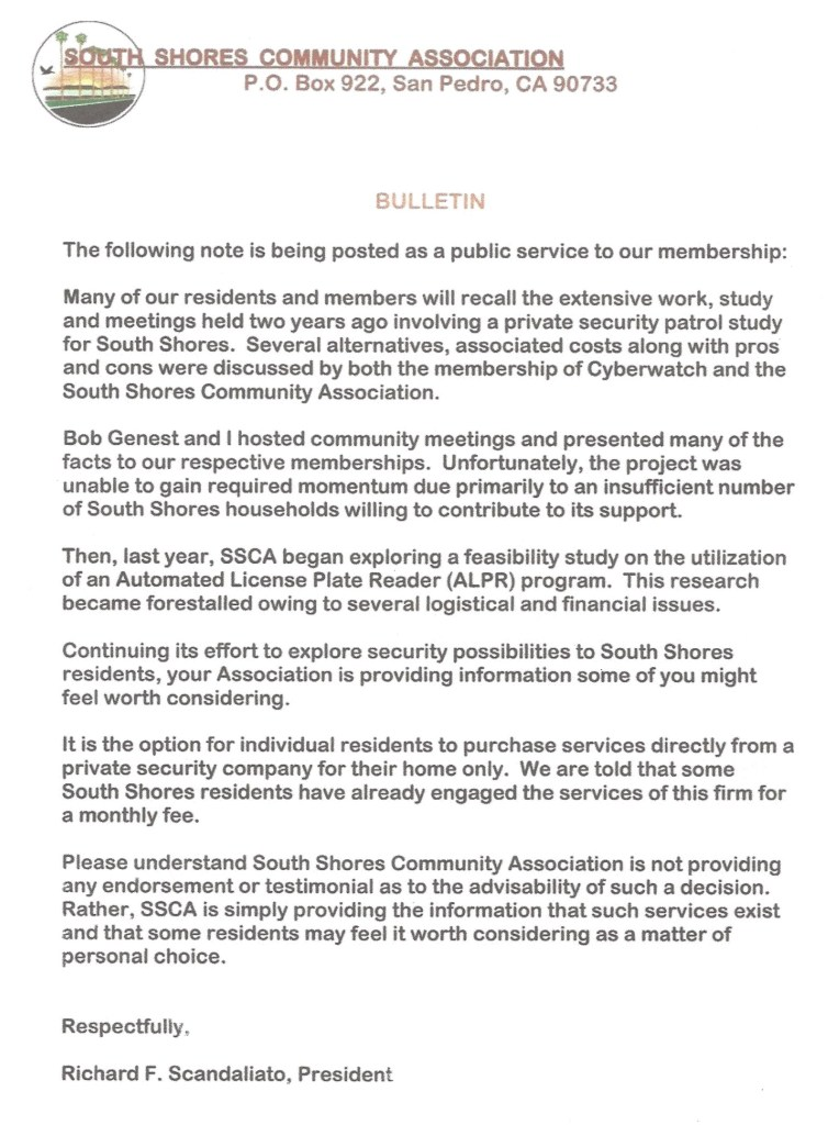 ssca bulletin regarding home security
