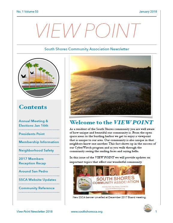 First page of 2018 View Point newsletter