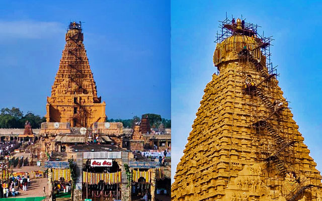 A spectacular view of Thanjavur Big Temple celebrating the grand consecration ceremony
