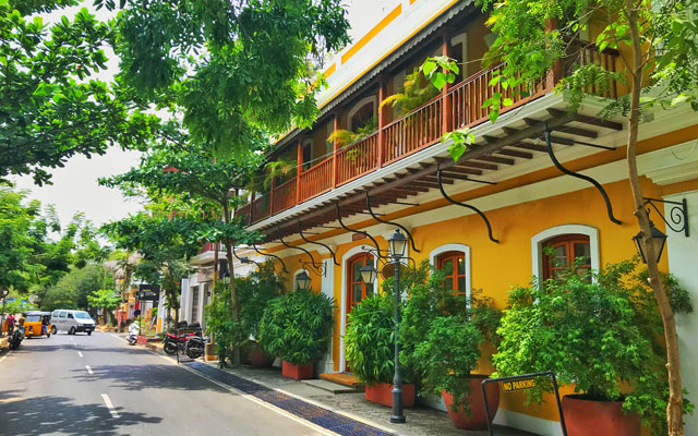 A beautiful street view of Pondicherry french colony