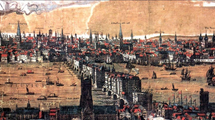 El puente de Londres (London Bridge), en la Edad Media.