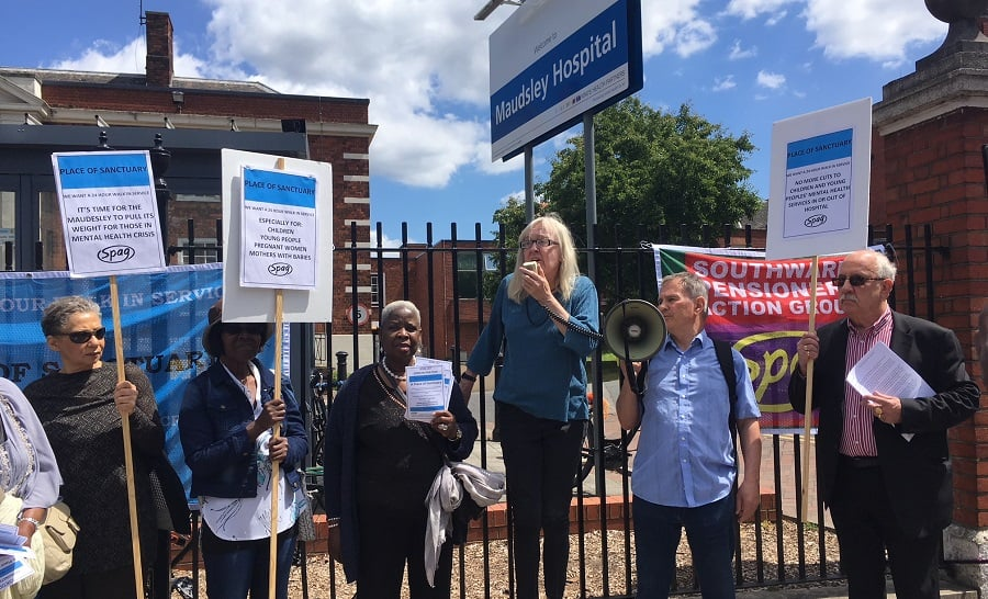 Southwark Pensioners' Action Group (SPAG) organised a demonstration outside Maudsley Hospital, in Camberwell, to call for a 24-hour 'place of sanctuary' for mental health patients to be opened