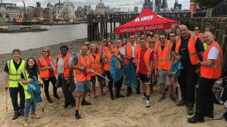 More than 30 firefighters, officers and staff members from London Fire Brigade helped collect plastic from the River Thames during a beach clean event