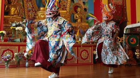 The Kagyu Samye Dzong London Tibetan Buddhist Centre for World Peace and Health in Bermondsey celebrated its 20th anniversary with a traditional masked dance and sacred chant performed by the Tashi Lhunpo monks