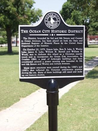 The ocean city historic district plaque