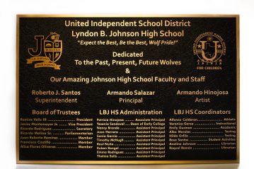 "Cast Bronze 24"" h x 36 plaque with 2 insert logos."